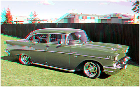 57 Chev outside. 3-D Photography by Marc Dawson.