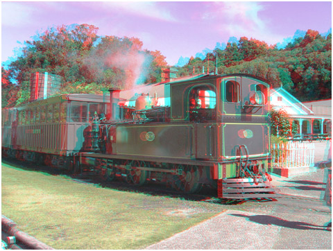Steam Engine L508 departs in Shanty Town. 3-D Photography by Marc Dawson.