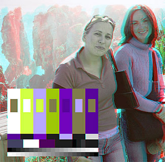 (ACB) 3-D image with a contrast balanced (ACB) color chart.