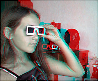 Handheld (ACB) 3-D Viewers for online 3-D browsing without wearing glasses.