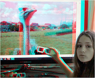 Anaglyph of an Anaglyph. Handheld (ACB) 3-D Viewers for casual 3-D browsing without wearing glasses.