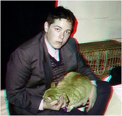 Ben Stet as Peter van Daan with Moochi the cat. 3-D Photography by Marc Dawson.