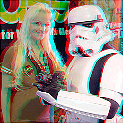 Storm Trooper with Vicky-Lee at Armogeddon '05. 3-D Photography by Marc Dawson.